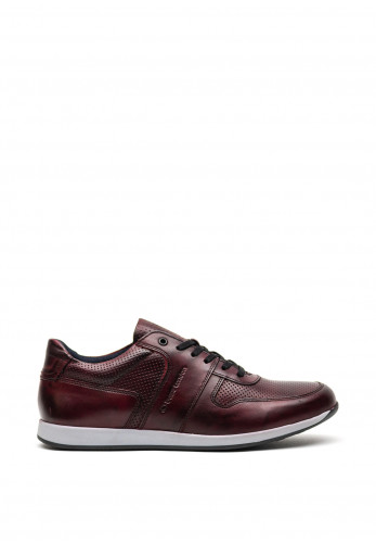 Base London Dakota Burnished Leather Trainer, Bordo
