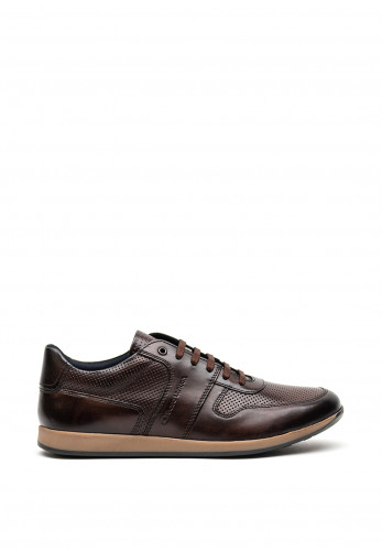 Base London Dakota Burnished Leather Trainer, Brown