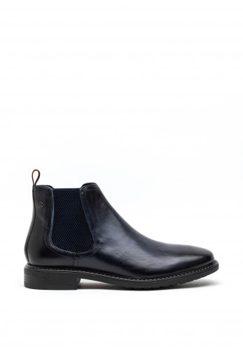 Base London Seymour Slip on Chelsea Boot, Washed Navy