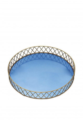 BarCraft Stainless Steel Serving Tray, Blue and Brass