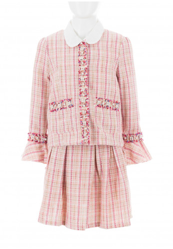 Beau Kid Tweed Top, blouse and Skirt, Pink