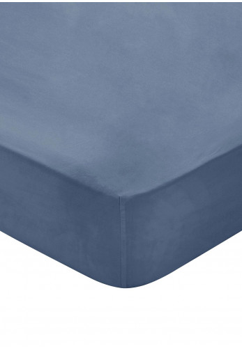 Bedeck 300 Thread Count Egyptian Cotton Fitted Bed Sheet, Denim