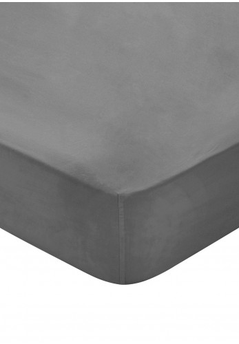 Bedeck 300 Thread Count Egyptian Cotton Fitted Bed Sheet, Silver
