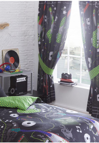 Kids Club Guitar Rock Curtains, Black 168 X 183