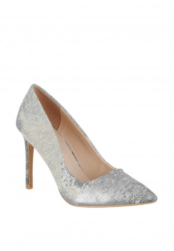 Zen Jacquard Pointed Toe Court Shoes, Silver