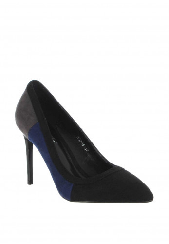 Zen Colour Block Heeled Court Shoes, Blue