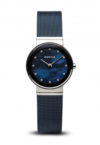 Bering Classic Navy Blue Milanese Ladies Watch, 11435-387