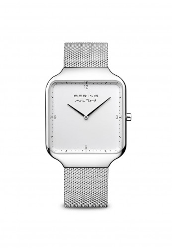 Bering Max Rene Square Face Watch, Silver