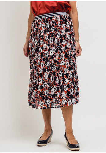 Betty Barclay Floral Pleated Skirt, Navy & Rust