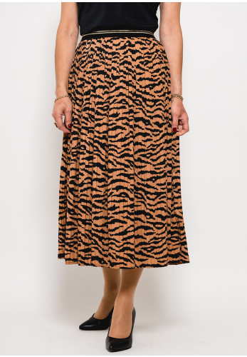 Betty Barclay Animal Print Pleated Skirt, Brown
