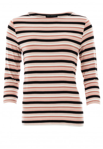 Betty Barclay Striped Scoop Neck T-Shirt, Pink & Black