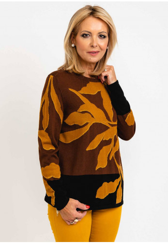 Betty Barclay Leaf Print Long Sleeve Pullover, Brown