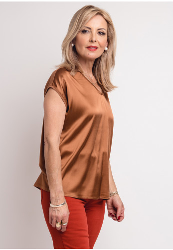 Betty Barclay Silk Front Top, Brown