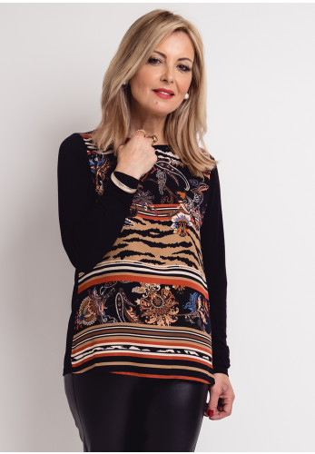 Betty Barclay Vintage Floral Stripe Top, Black