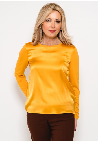 Betty Barclay Silk Front Long Sleeve Top, Mustard