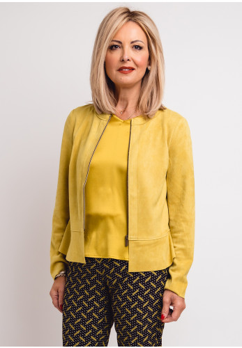 Betty Barclay Faux Suede Zip Front Jacket, Yellow