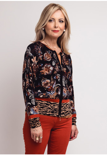 Betty Barclay Vintage Floral Knit Zip Cardigan, Black