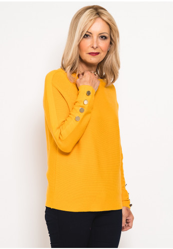 Betty Barclay Ribbed Button Trim Jumper, Mustard