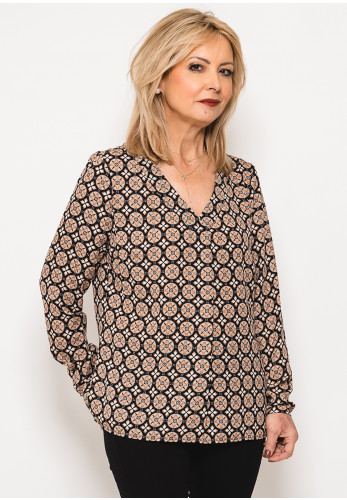 Betty Barclay Vintage Print Top, Beige & Black