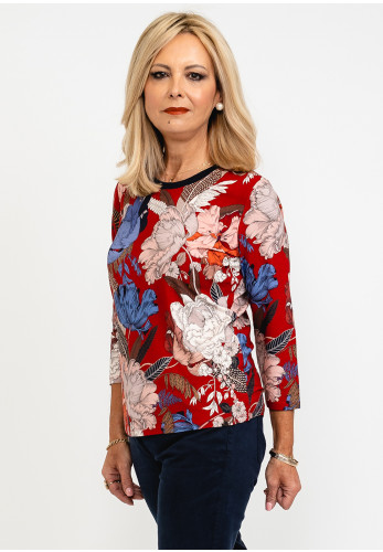 Betty Barclay Floral Print Metallic Ribbed Neck Top, Red Multi