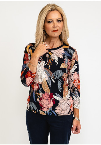 Betty Barclay Floral Print Metallic Ribbed Neck Top, Navy Multi