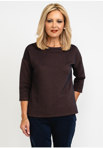 Betty Barclay Embossed Textured Boat Neck Top, Navy & Brown