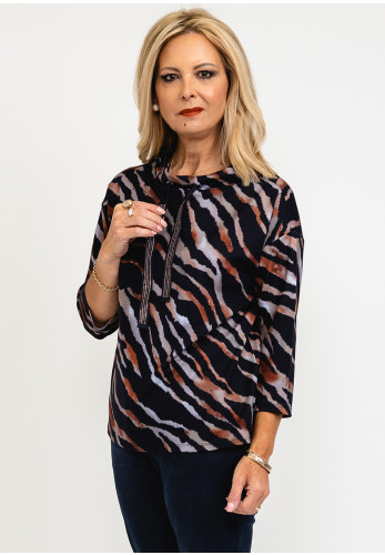 Betty Barclay Tiger Print Cowl Neck Pullover, Navy Multi