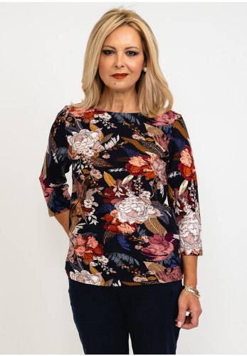 Betty Barclay Floral Ribbed Top, Navy Multi
