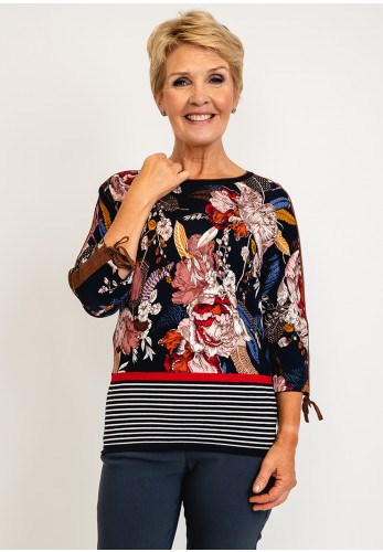 Betty Barclay Tie Sleeve Floral Print Pullover, Black Multi