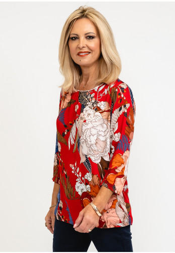 Betty Barclay Floral Pleated Blouse, Red Multi
