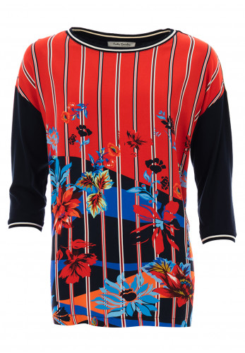 Betty Barclay Striped & Floral Print Top, Red Multi