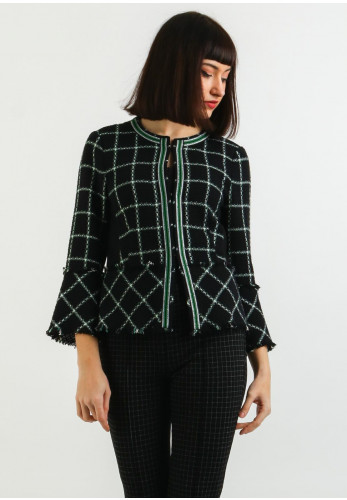 Bianca Checked Knit Jacket, Black