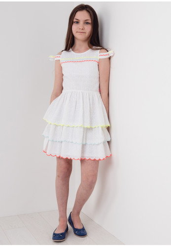 Billieblush Cotton Lace Neon Dress, Dress, White
