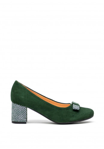 Bioeco by Arka Leather Suede Bow Court Shoes, Green