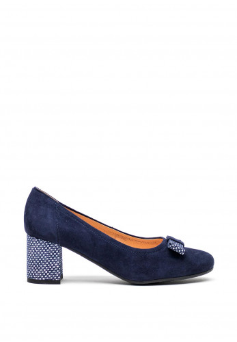 Bioeco by Arka Leather Suede Bow Court Shoes, Navy