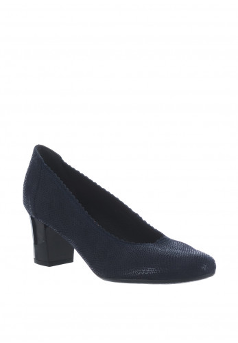 Bioeco by Arka Leather Reptile Block Heel Shoes, Navy