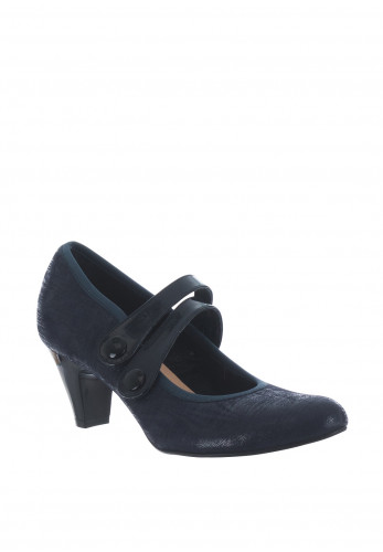 Bioeco by Arka Leather Strap Heeled Shoes, Navy