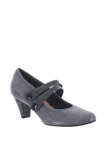 Bioeco by Arka Leather Strap Heeled Shoes, Grey