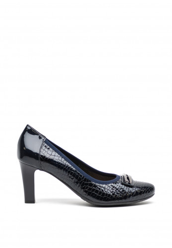Bioeco by Arka Leather Patent Trim Court Shoes, Navy