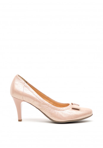 Bioeco by Arka Leather Shimmer Bow Court Shoes, Pink