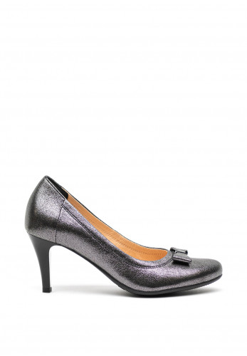 Bioeco by Arka Leather Shimmer Bow Court Shoes, Grey
