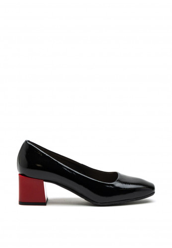 Bioeco by Arka Patent Leather Square Block Detail Heel Shoe, Black