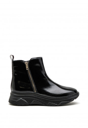 Bioeco by Arka Patent Leather Trainer Boot, Black