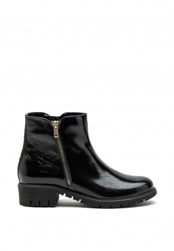 Bioeco by Arka Patent Leather Ankle Boot, Black