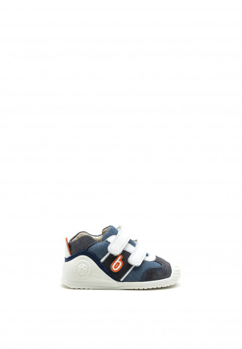 Biomecanics Baby Boys Logo Print Leather Trainers, Denim Grey