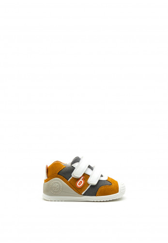 Biomecanics Baby Boys Logo Print Leather Trainers, Mustard