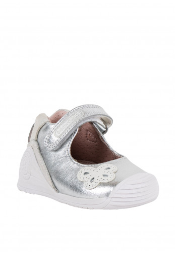 Garvalin Baby Girls Butterfly Leather Shoes, Silver