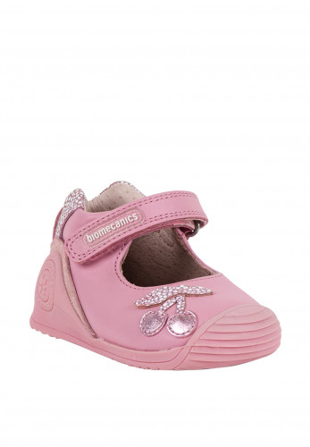 Biomecanics Baby Girls Cherry Leather Shoes, Pink