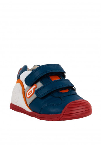 Biomecanics Baby Boys Velcro Strap Leather Trainers, Blue