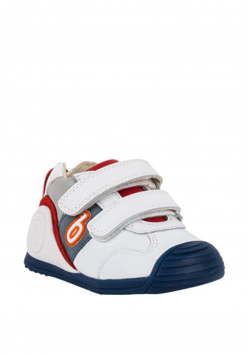 Biomecanics Baby Boys Velcro Strap Leather Trainers, White